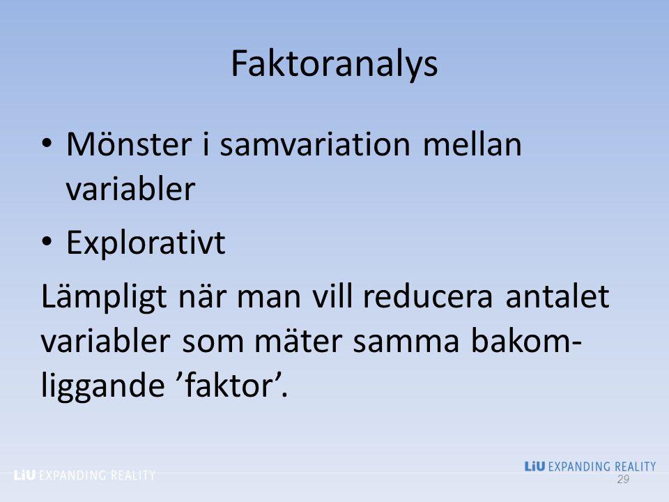 Faktoranalys Mönster i samvariation mellan variabler Explorativt Lämpligt när man vill reducera antalet variabler som mäter samma bakom- liggande 'fak
