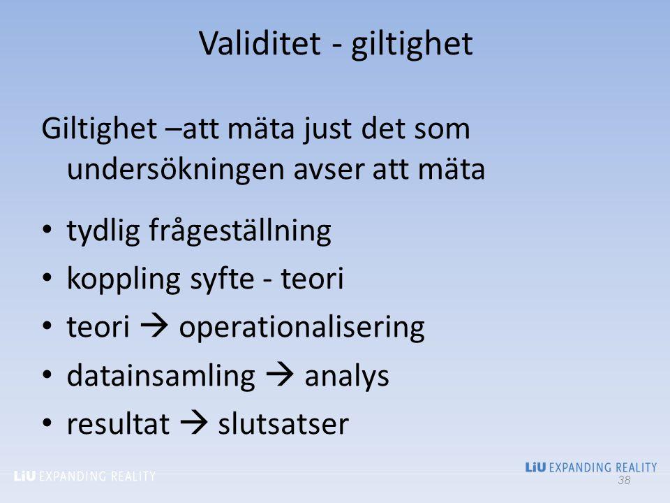 Validitet - giltighet Giltighet –att mäta just det som undersökningen avser att mäta tydlig frågeställning koppling syfte - teori teori  operationali