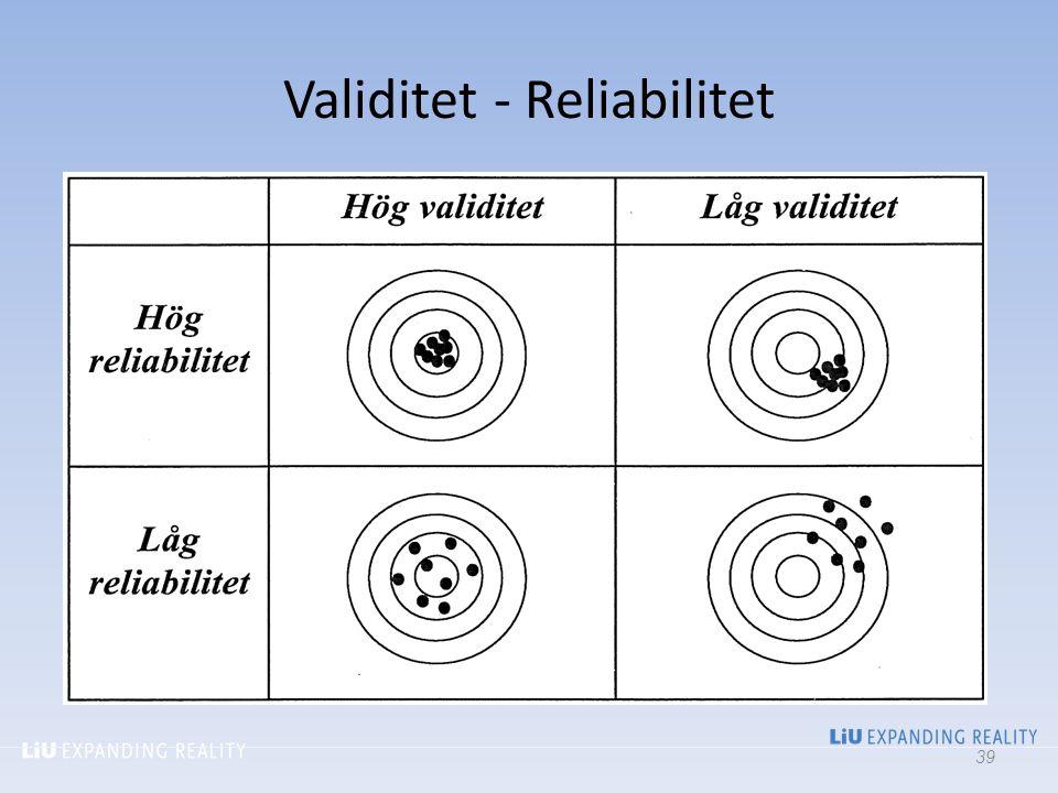Validitet - Reliabilitet. 39