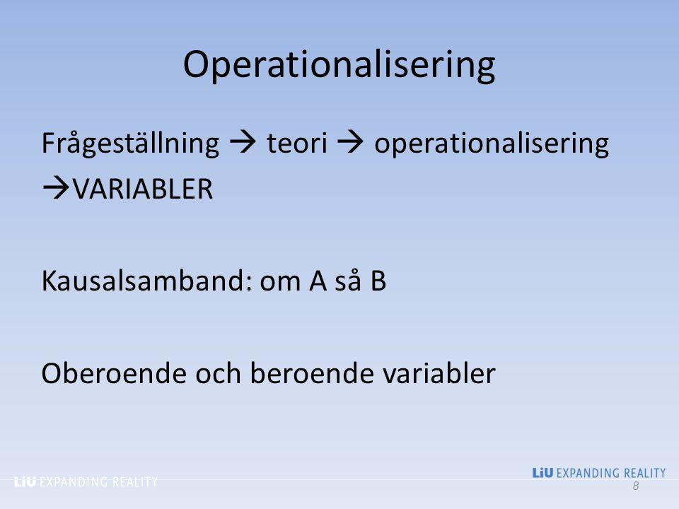 Operationalisering Frågeställning  teori  operationalisering  VARIABLER Kausalsamband: om A så B Oberoende och beroende variabler 8