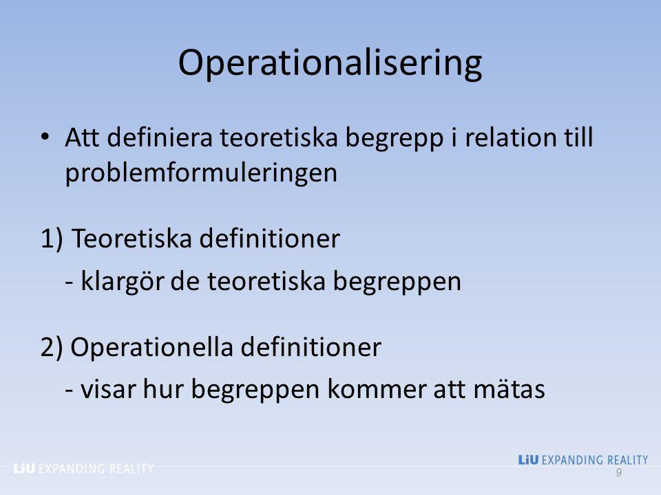 Operationalisering Att definiera teoretiska begrepp i relation till problemformuleringen 1) Teoretiska definitioner - klargör de teoretiska begreppen