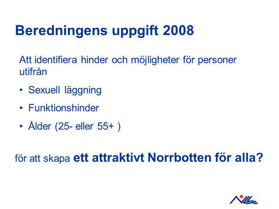 Beredningens uppgift 2008 Att identifiera hinder och möjligheter för personer utifrån Sexuell läggning Funktionshinder Ålder (25- eller 55+ ) för att skapa ett attraktivt Norrbotten för alla