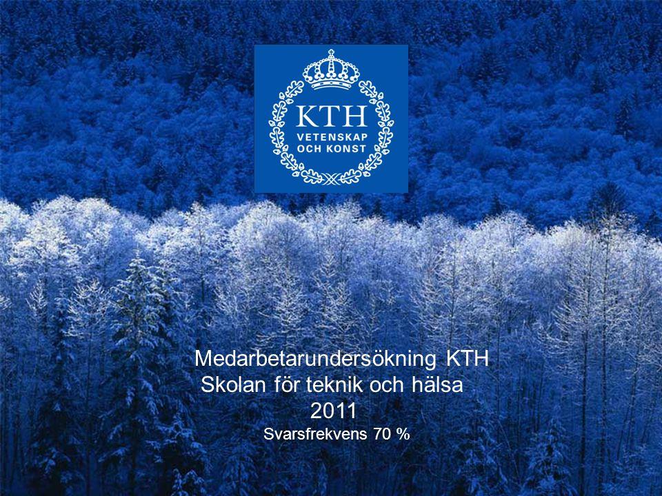 Medarbetarundersökning KTH Skolan för teknik och hälsa 2011 Svarsfrekvens 70 %