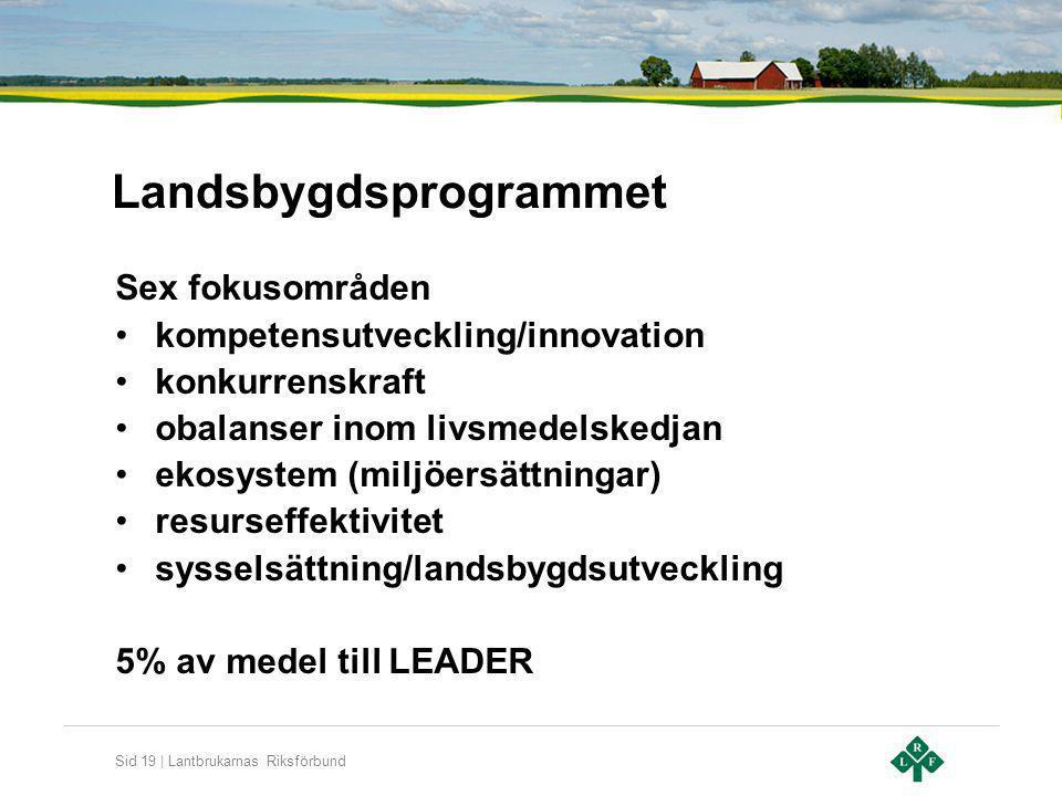 Sid 19 | Lantbrukarnas Riksförbund Landsbygdsprogrammet Sex fokusområden kompetensutveckling/innovation konkurrenskraft obalanser inom livsmedelskedja