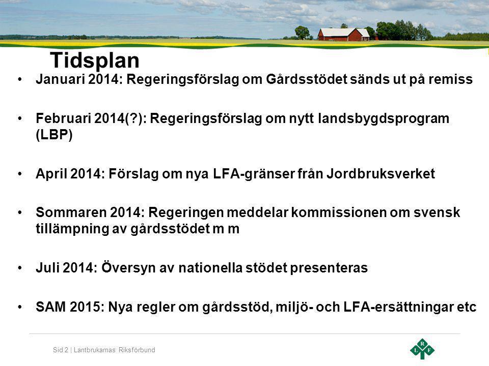 Sid 2 | Lantbrukarnas Riksförbund Tidsplan Januari 2014: Regeringsförslag om Gårdsstödet sänds ut på remiss Februari 2014(?): Regeringsförslag om nytt