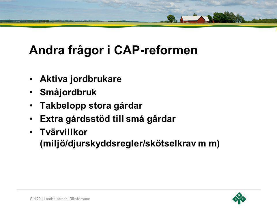 Sid 20 | Lantbrukarnas Riksförbund Andra frågor i CAP-reformen Aktiva jordbrukare Småjordbruk Takbelopp stora gårdar Extra gårdsstöd till små gårdar T