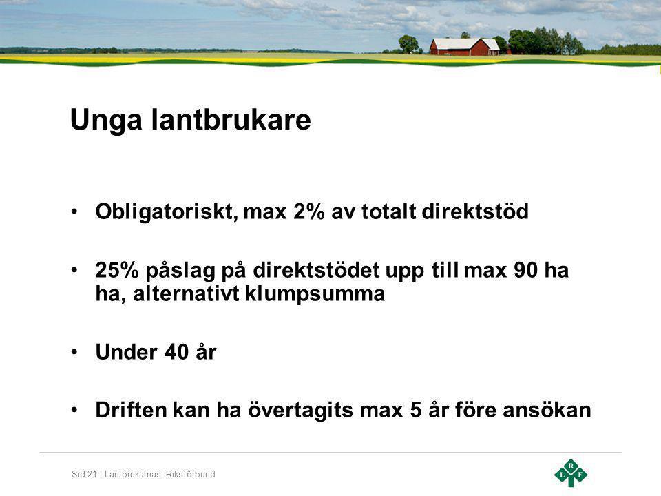 Sid 21 | Lantbrukarnas Riksförbund Unga lantbrukare Obligatoriskt, max 2% av totalt direktstöd 25% påslag på direktstödet upp till max 90 ha ha, alter