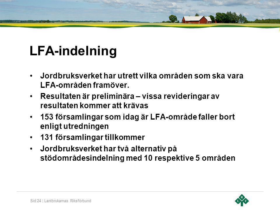 Sid 24 | Lantbrukarnas Riksförbund LFA-indelning Jordbruksverket har utrett vilka områden som ska vara LFA-områden framöver. Resultaten är preliminära