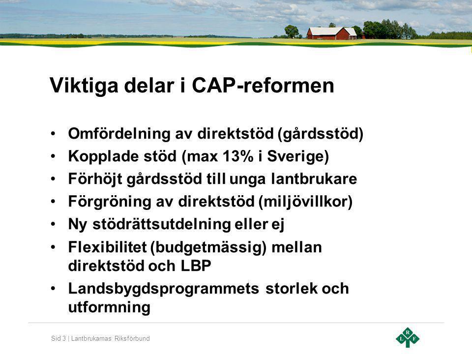 Sid 3 | Lantbrukarnas Riksförbund Viktiga delar i CAP-reformen Omfördelning av direktstöd (gårdsstöd) Kopplade stöd (max 13% i Sverige) Förhöjt gårdss
