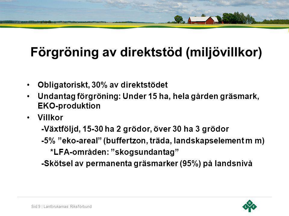 Sid 9 | Lantbrukarnas Riksförbund Förgröning av direktstöd (miljövillkor) Obligatoriskt, 30% av direktstödet Undantag förgröning: Under 15 ha, hela gå
