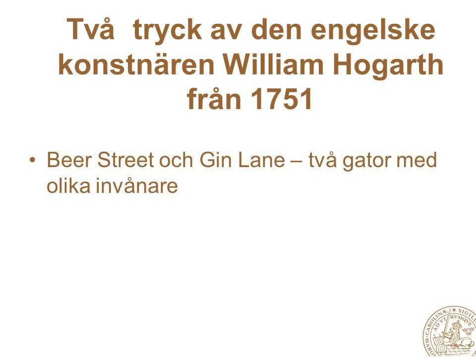 Två tryck av den engelske konstnären William Hogarth från 1751 Beer Street och Gin Lane – två gator med olika invånare