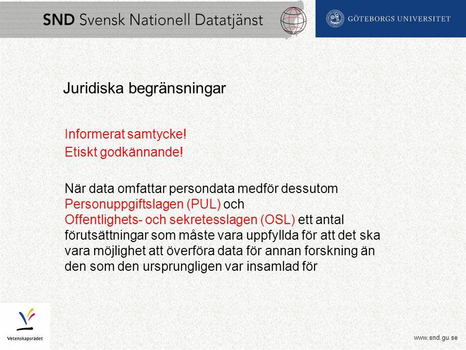 www.snd.gu.se Juridiska begränsningar Informerat samtycke.
