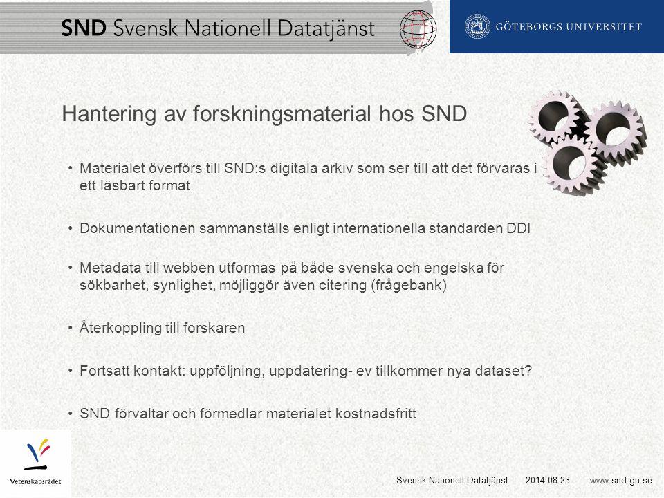 www.snd.gu.se Hantering av forskningsmaterial hos SND Materialet överförs till SND:s digitala arkiv som ser till att det förvaras i ett läsbart format Dokumentationen sammanställs enligt internationella standarden DDI Metadata till webben utformas på både svenska och engelska för sökbarhet, synlighet, möjliggör även citering (frågebank) Återkoppling till forskaren Fortsatt kontakt: uppföljning, uppdatering- ev tillkommer nya dataset.