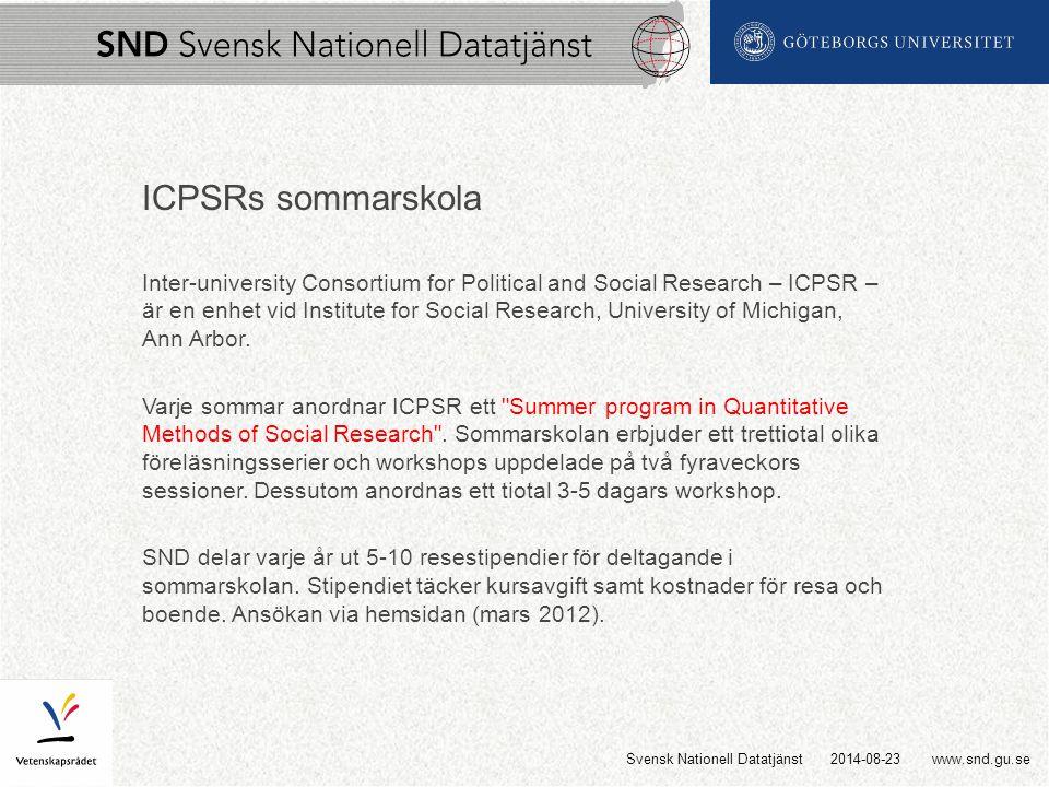 www.snd.gu.se ICPSRs sommarskola Inter-university Consortium for Political and Social Research – ICPSR – är en enhet vid Institute for Social Research