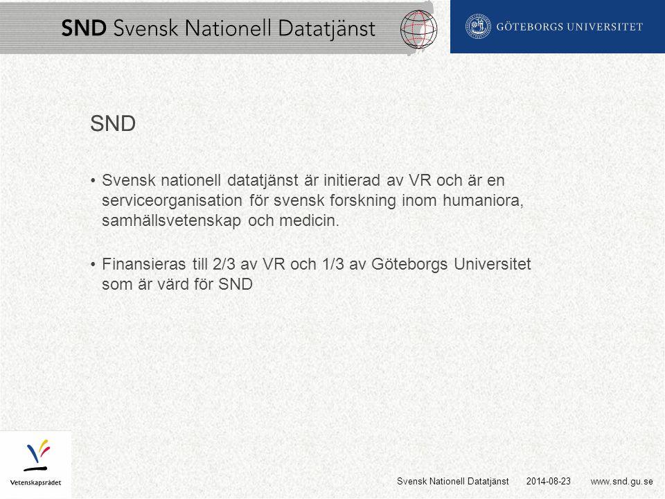 www.snd.gu.se SND Svensk nationell datatjänst är initierad av VR och är en serviceorganisation för svensk forskning inom humaniora, samhällsvetenskap och medicin.