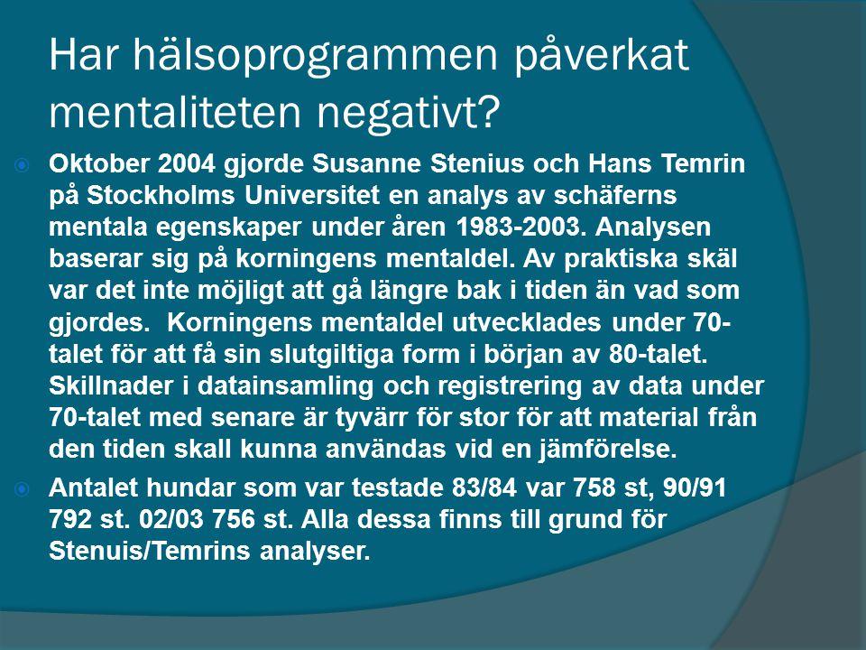 Har hälsoprogrammen påverkat mentaliteten negativt?  Oktober 2004 gjorde Susanne Stenius och Hans Temrin på Stockholms Universitet en analys av schäf