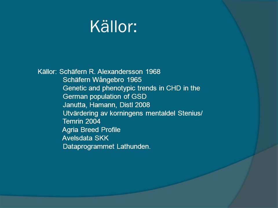 Källor: Källor: Schäfern R. Alexandersson 1968 Schäfern Wångebro 1965 Genetic and phenotypic trends in CHD in the German population of GSD Janutta, Ha