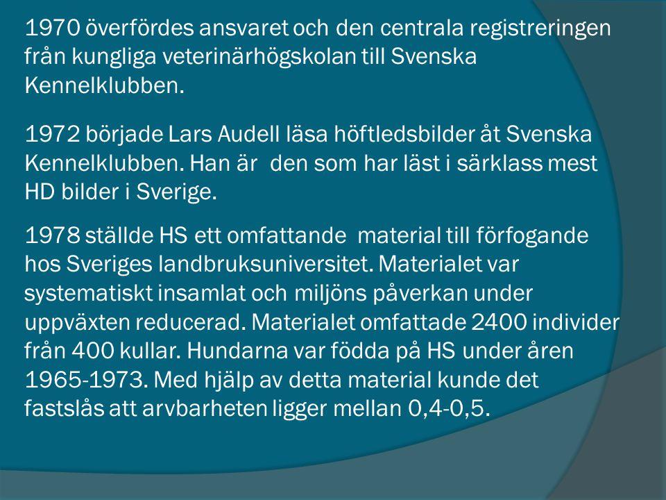 1970 överfördes ansvaret och den centrala registreringen från kungliga veterinärhögskolan till Svenska Kennelklubben. 1972 började Lars Audell läsa hö
