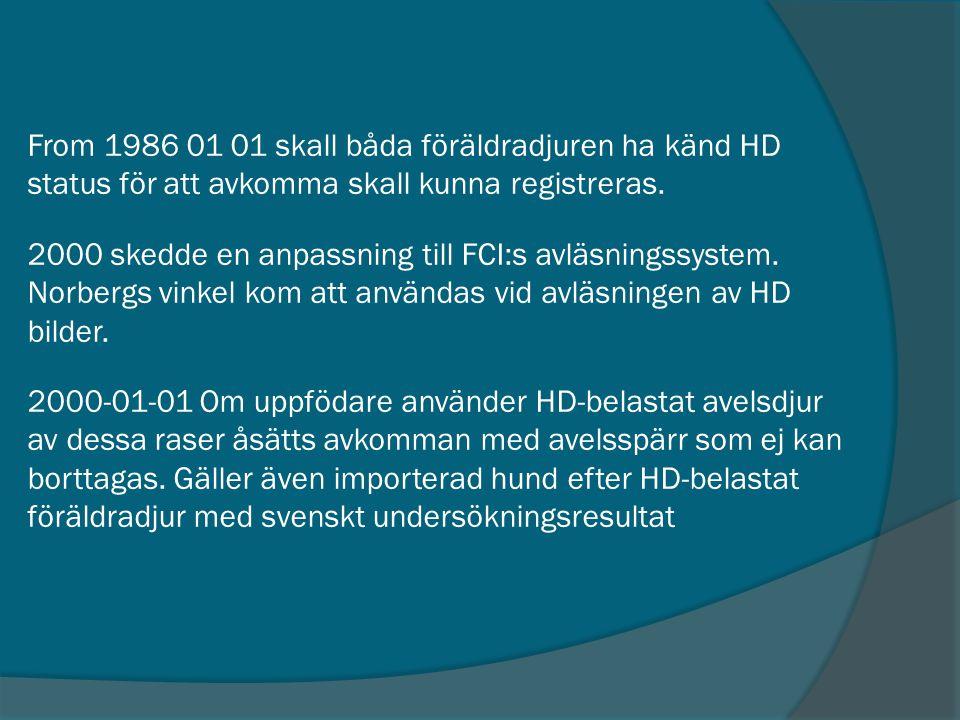 From 1986 01 01 skall båda föräldradjuren ha känd HD status för att avkomma skall kunna registreras. 2000 skedde en anpassning till FCI:s avläsningssy
