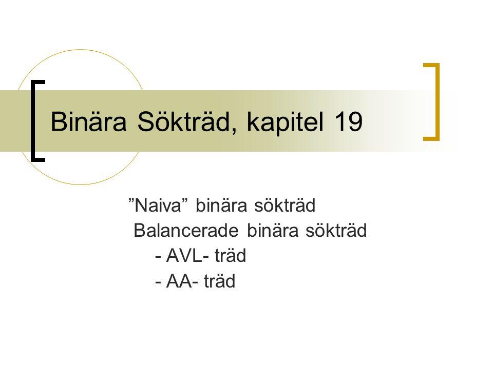 "Binära Sökträd, kapitel 19 ""Naiva"" binära sökträd Balancerade binära sökträd - AVL- träd - AA- träd"
