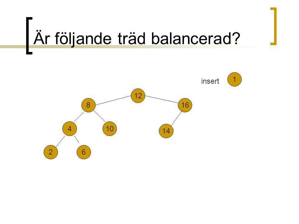 Är följande träd balancerad? 12 816 104 26 1 14 insert