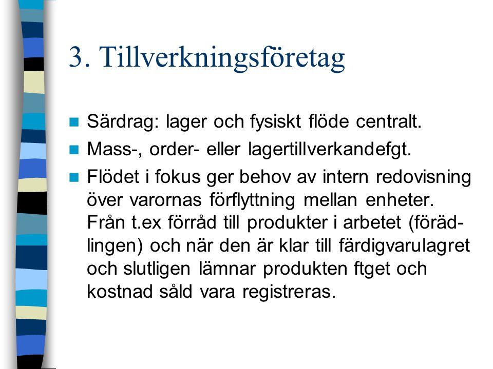 3. Tillverkningsföretag Särdrag: lager och fysiskt flöde centralt. Mass-, order- eller lagertillverkandefgt. Flödet i fokus ger behov av intern redovi