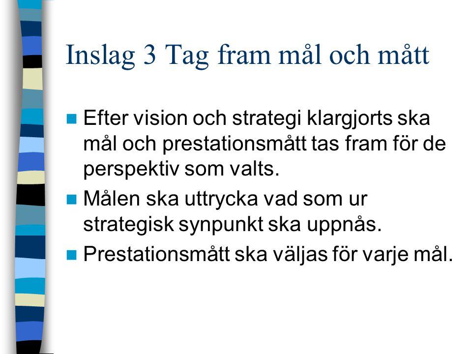 Inslag 3 Tag fram mål och mått Efter vision och strategi klargjorts ska mål och prestationsmått tas fram för de perspektiv som valts. Målen ska uttryc