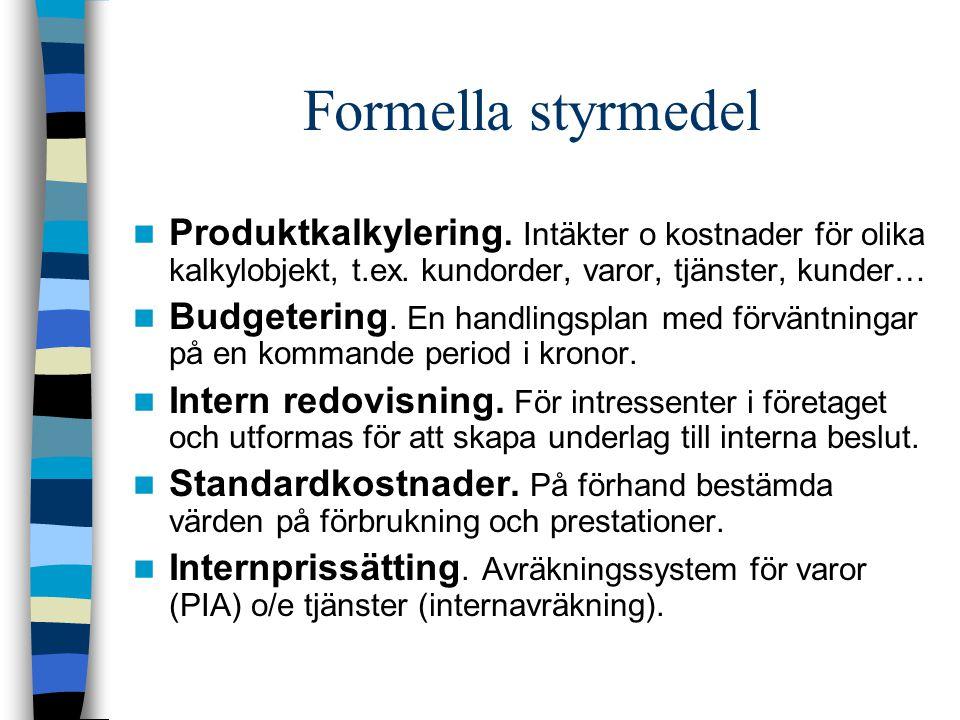 Formella styrmedel Produktkalkylering. Intäkter o kostnader för olika kalkylobjekt, t.ex. kundorder, varor, tjänster, kunder… Budgetering. En handling