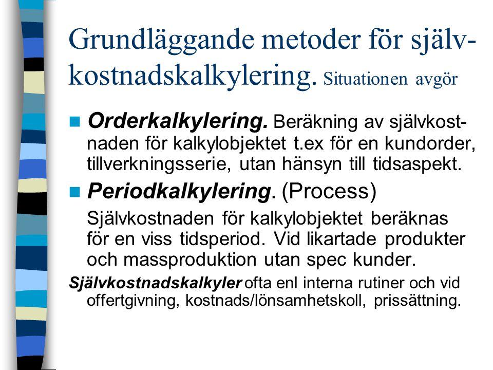 Grundläggande metoder för själv- kostnadskalkylering. Situationen avgör Orderkalkylering. Beräkning av självkost- naden för kalkylobjektet t.ex för en