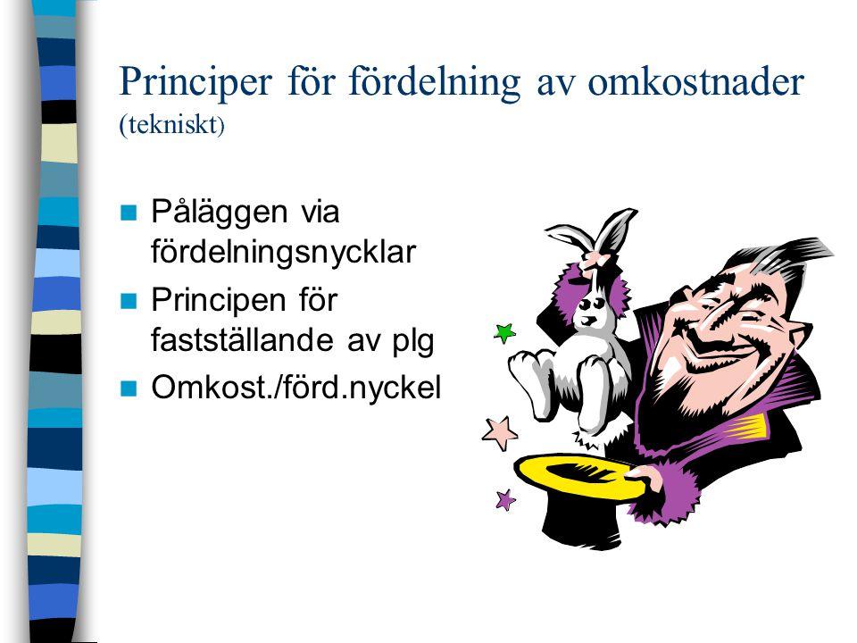 Principer för fördelning av omkostnader (tekniskt ) Påläggen via fördelningsnycklar Principen för fastställande av plg Omkost./förd.nyckel
