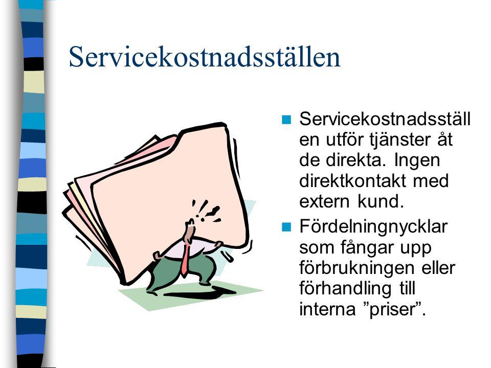 Servicekostnadsställen Servicekostnadsställ en utför tjänster åt de direkta. Ingen direktkontakt med extern kund. Fördelningnycklar som fångar upp för