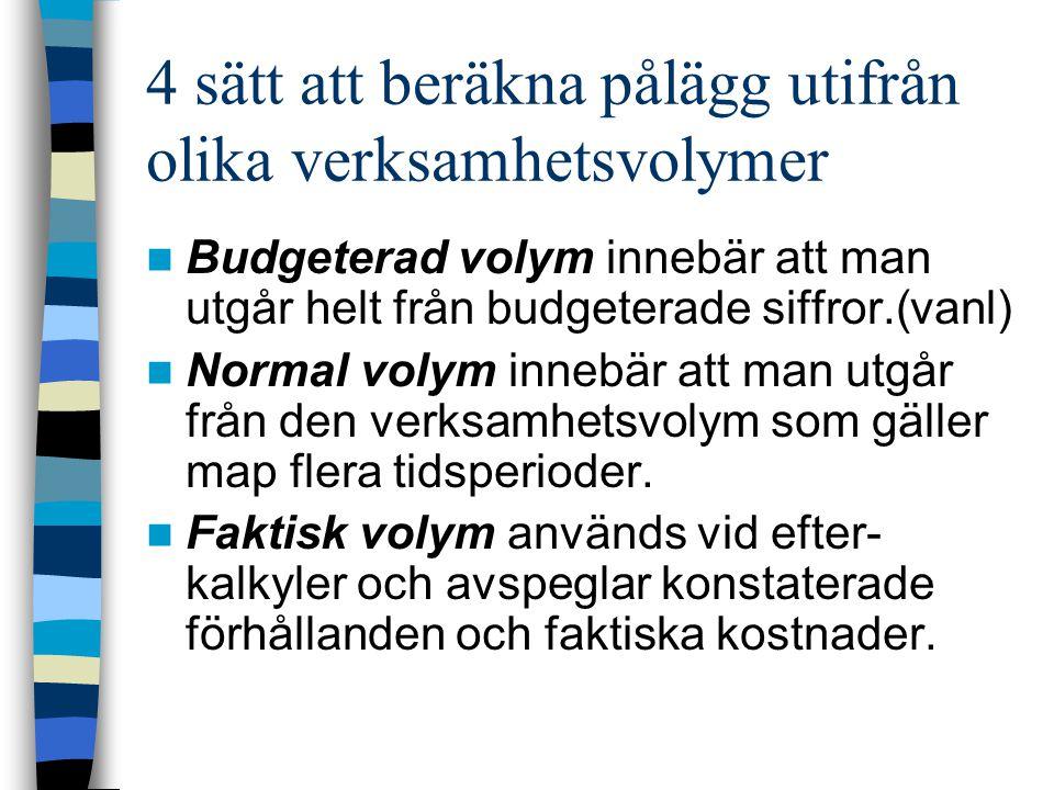 4 sätt att beräkna pålägg utifrån olika verksamhetsvolymer Budgeterad volym innebär att man utgår helt från budgeterade siffror.(vanl) Normal volym in