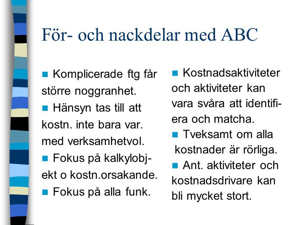 För- och nackdelar med ABC Komplicerade ftg får större noggranhet. Hänsyn tas till att kostn. inte bara var. med verksamhetvol. Fokus på kalkylobj- ek