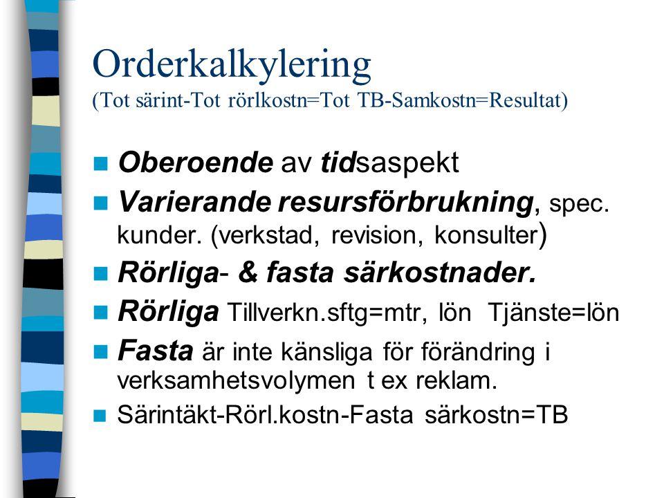 Orderkalkylering (Tot särint-Tot rörlkostn=Tot TB-Samkostn=Resultat) Oberoende av tidsaspekt Varierande resursförbrukning, spec. kunder. (verkstad, re