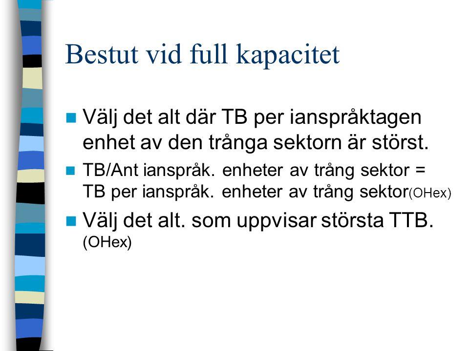 Bestut vid full kapacitet Välj det alt där TB per ianspråktagen enhet av den trånga sektorn är störst. TB/Ant ianspråk. enheter av trång sektor = TB p