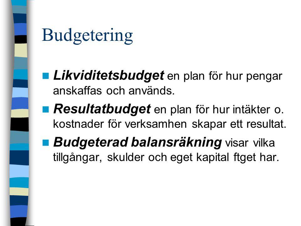 Budgetering Likviditetsbudget en plan för hur pengar anskaffas och används. Resultatbudget en plan för hur intäkter o. kostnader för verksamhen skapar