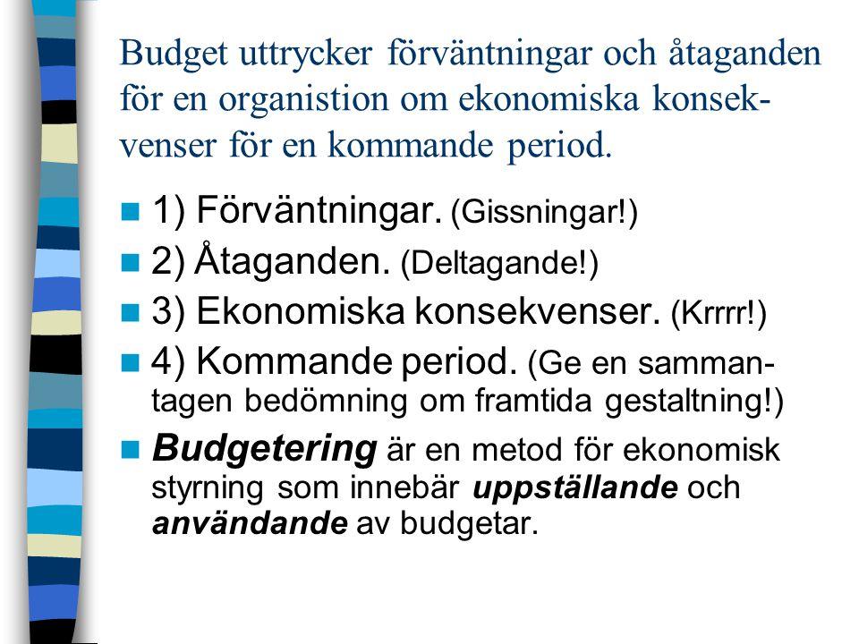 Budget uttrycker förväntningar och åtaganden för en organistion om ekonomiska konsek- venser för en kommande period. 1) Förväntningar. (Gissningar!) 2