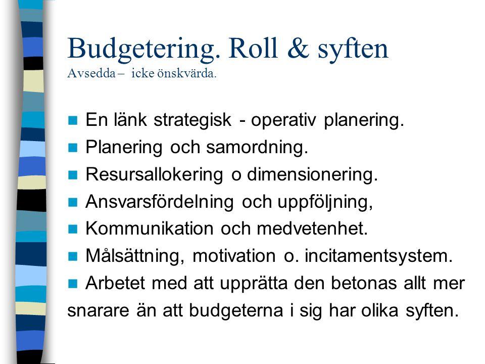 Budgetering. Roll & syften Avsedda – icke önskvärda. En länk strategisk - operativ planering. Planering och samordning. Resursallokering o dimensioner