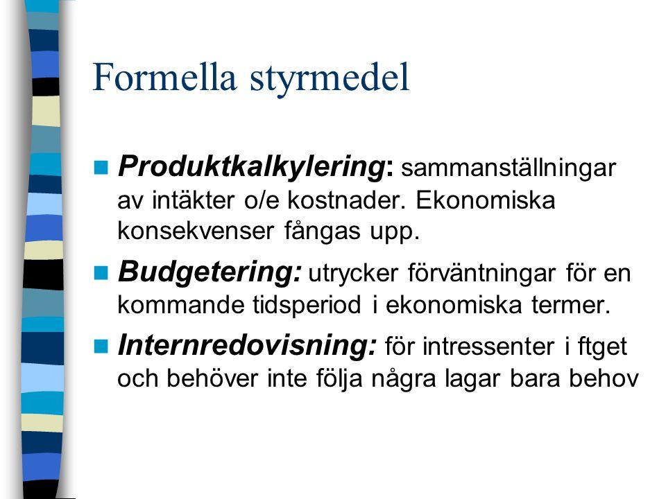 Formella styrmedel Produktkalkylering: sammanställningar av intäkter o/e kostnader. Ekonomiska konsekvenser fångas upp. Budgetering: utrycker förväntn