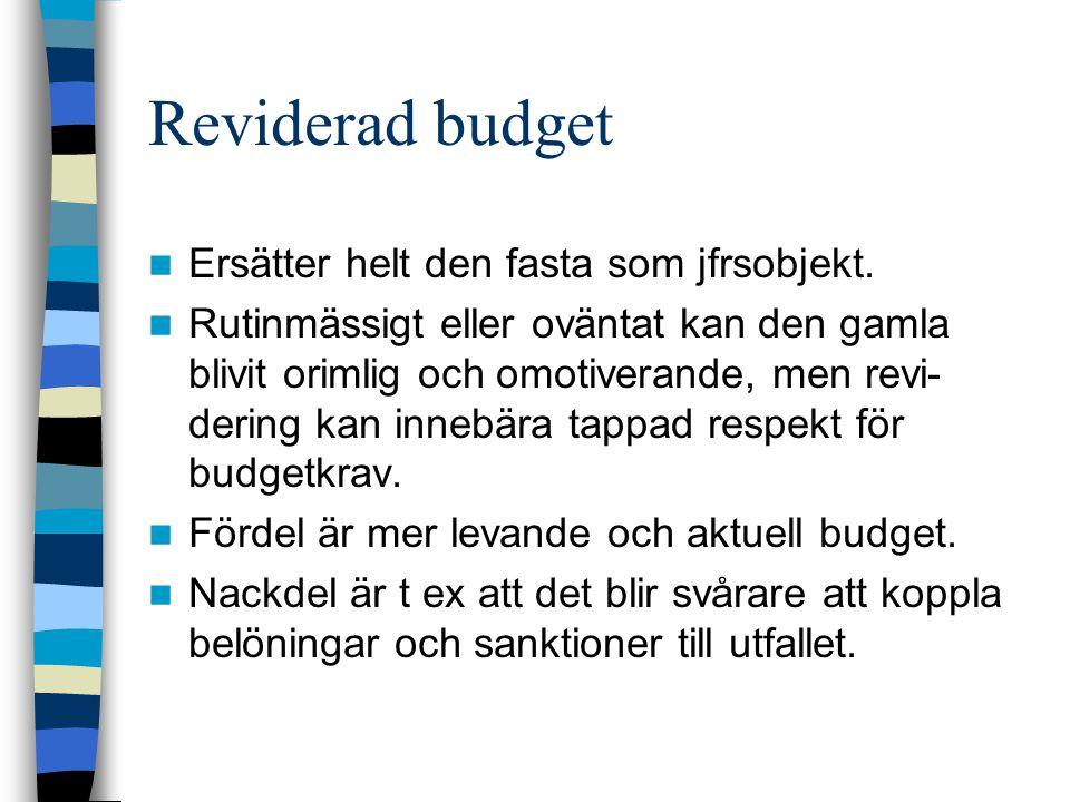 Reviderad budget Ersätter helt den fasta som jfrsobjekt. Rutinmässigt eller oväntat kan den gamla blivit orimlig och omotiverande, men revi- dering ka