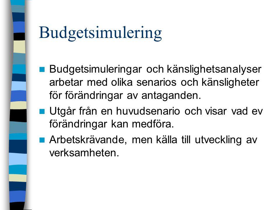 Budgetsimulering Budgetsimuleringar och känslighetsanalyser arbetar med olika senarios och känsligheter för förändringar av antaganden. Utgår från en