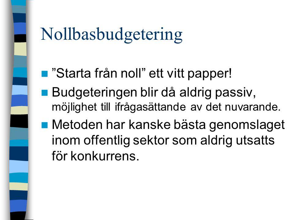 """Nollbasbudgetering """"Starta från noll"""" ett vitt papper! Budgeteringen blir då aldrig passiv, möjlighet till ifrågasättande av det nuvarande. Metoden ha"""