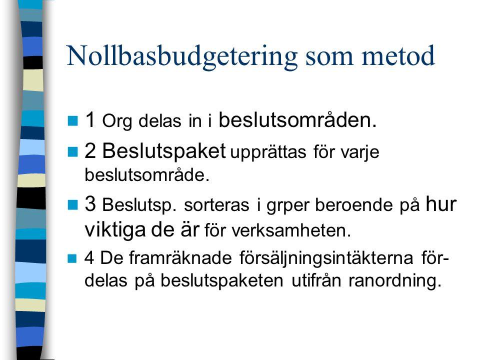 Nollbasbudgetering som metod 1 Org delas in i beslutsområden. 2 Beslutspaket upprättas för varje beslutsområde. 3 Beslutsp. sorteras i grper beroende