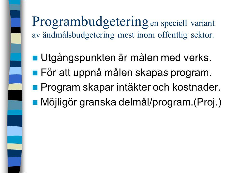 Programbudgetering en speciell variant av ändmålsbudgetering mest inom offentlig sektor. Utgångspunkten är målen med verks. För att uppnå målen skapas