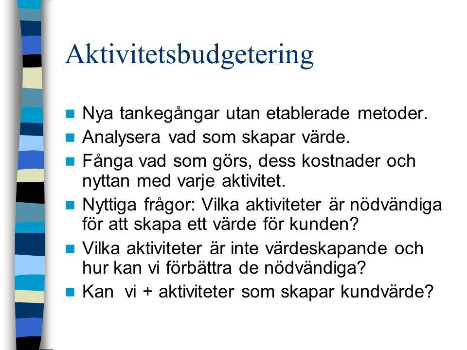 Aktivitetsbudgetering Nya tankegångar utan etablerade metoder. Analysera vad som skapar värde. Fånga vad som görs, dess kostnader och nyttan med varje