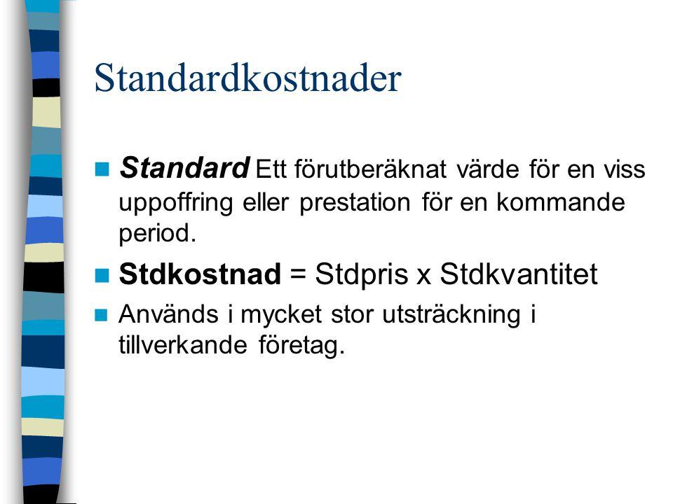 Standardkostnader Standard Ett förutberäknat värde för en viss uppoffring eller prestation för en kommande period. Stdkostnad = Stdpris x Stdkvantitet