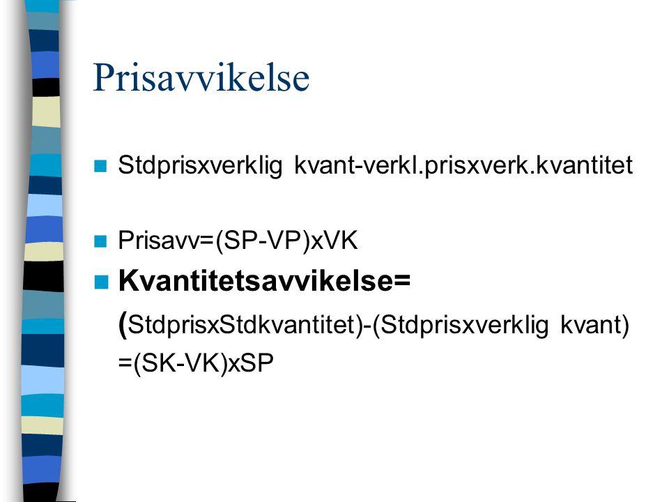 Prisavvikelse Stdprisxverklig kvant-verkl.prisxverk.kvantitet Prisavv=(SP-VP)xVK Kvantitetsavvikelse= ( StdprisxStdkvantitet)-(Stdprisxverklig kvant)