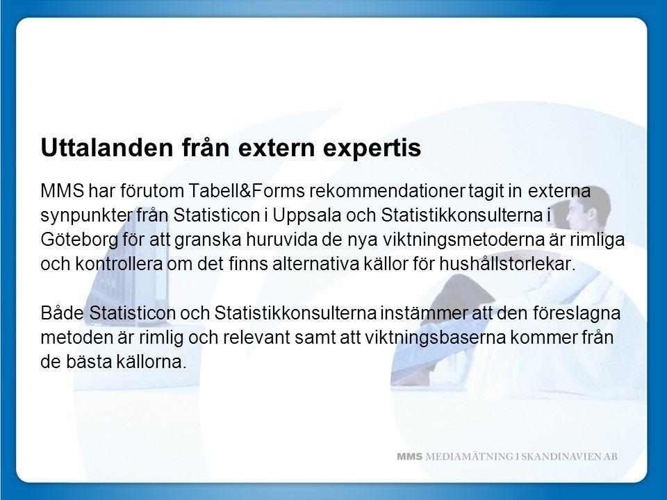 Uttalanden från extern expertis MMS har förutom Tabell&Forms rekommendationer tagit in externa synpunkter från Statisticon i Uppsala och Statistikkonsulterna i Göteborg för att granska huruvida de nya viktningsmetoderna är rimliga och kontrollera om det finns alternativa källor för hushållstorlekar.