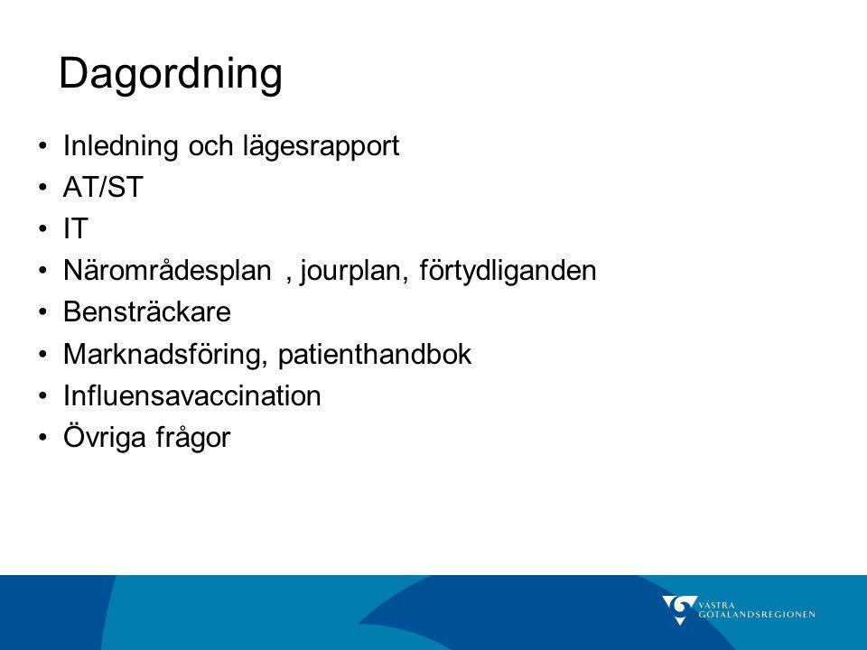 Dagordning Inledning och lägesrapport AT/ST IT Närområdesplan, jourplan, förtydliganden Bensträckare Marknadsföring, patienthandbok Influensavaccinati