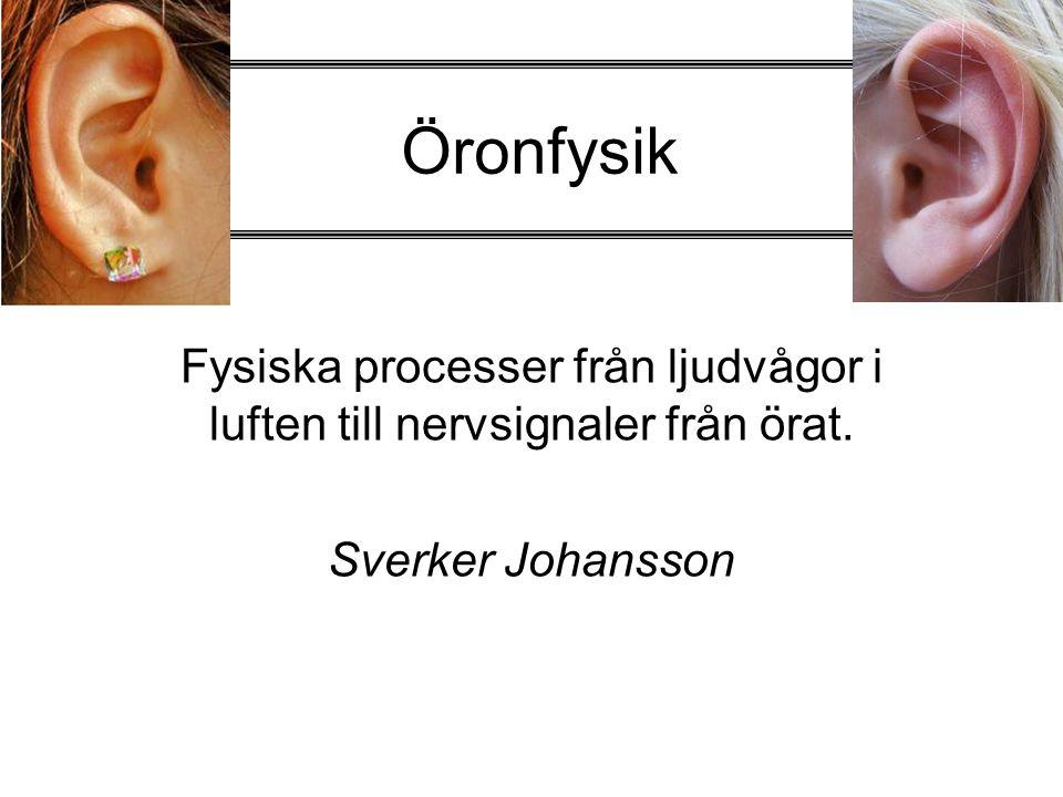 Öronfysik Fysiska processer från ljudvågor i luften till nervsignaler från örat. Sverker Johansson